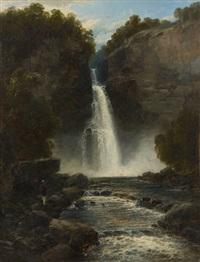 le promeneur arrivant à la cascade by john brandon smith