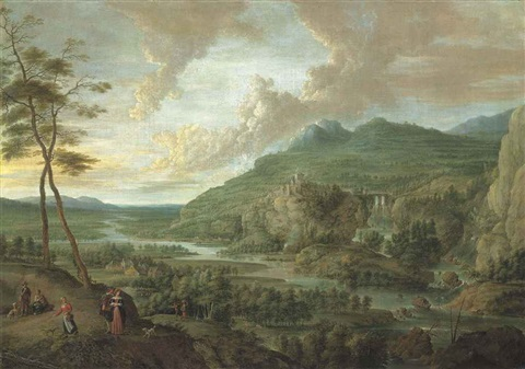 an extensive wooded river landscape with figures on a path in the forground a village and a fortess in mountains beyond by lucas van uden