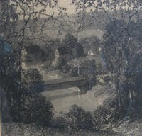 view of covered bridge by charles schell corson