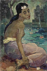 a seated balinese woman by han snel