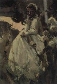 mädchen in weißem kleid by arthur langhammer