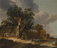 landscape with figures outside a wayside inn by roelof van vries