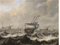 shipping foundering in a stormy sea by pieter coopse