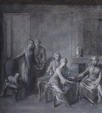 an interior with five figures, possibly the artist's family by bernhard (christian bernhard) rode