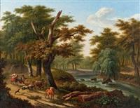 la rentrée des troupeaux près de la rivière by frans swagers