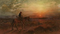 apache on horse returning home by henry raschen