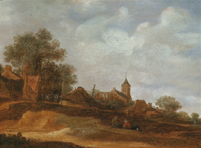kirche und ruine von egmond by frans de hulst