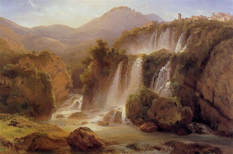 view of the falls at tivoli by eduard agricola