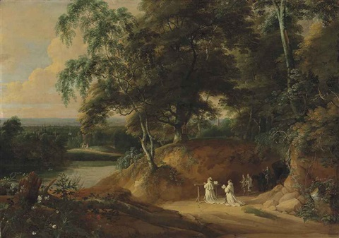 an extensive wooded landscape with carthusian monks praying in the foreground by jacques d arthois