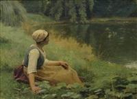 jeune femme au repos devant un étang by louis emile adan