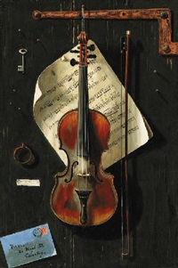 a tromp l'oeil with violin, sheet music and an envelope by w.g. becker