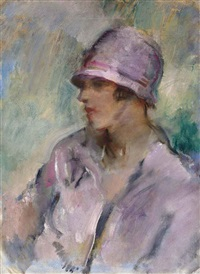 portrait of a lady, bust length, in a pink hat and coat by ambrose mcevoy