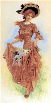 beautiful woman collecting fresh flowers by archie gunn