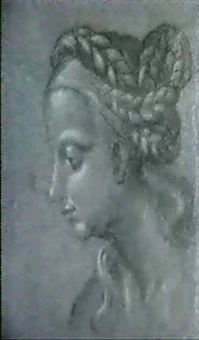 a study of the head of a woman, her hair arranged in    elaborate plaits by leonard thiry