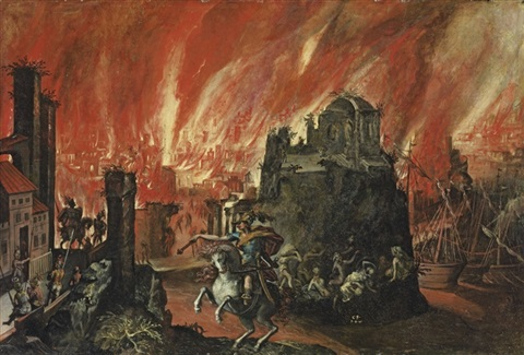 the fall of troy by willem isaaksz swanenburgh the elder
