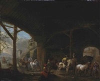 a hawking party in a barn interior by carel van falens