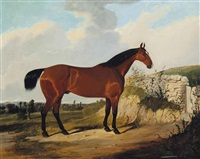 a bay hunter in a landscape by joseph (of worcester) dunn