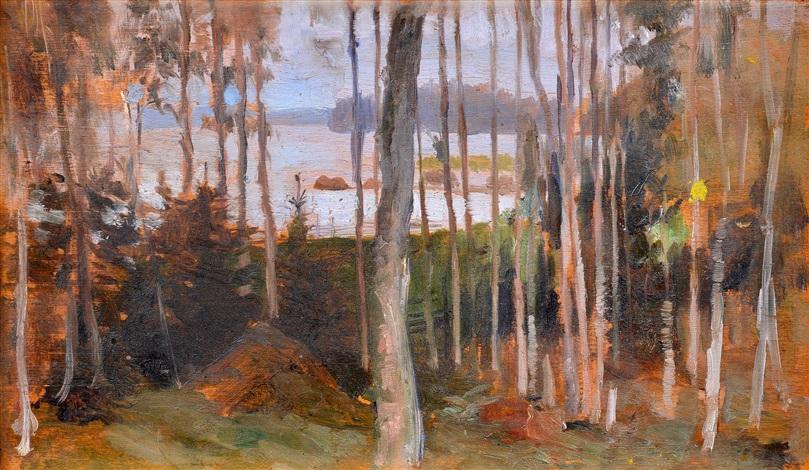 birches, haiko by albert edelfelt