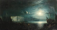 the thames with somerset house by moonlight by ansdele smythe