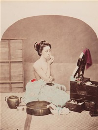 femme à la toilette, japon by raimund von (baron) stillfried-rathenitz
