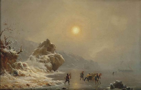 a winter landscape with hunters on the ice by andreas achenbach