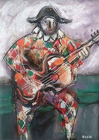 arlequin à la guitare by pierre bosco