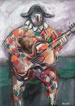 arlequin à la guitare by pierre bosco