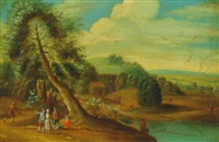 river landscape with villagers conversing by mathys balen