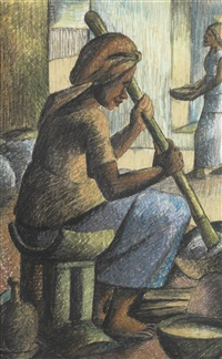 an akan girl preparing etew by kofi antubam