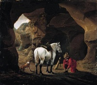 a man doing up the lace of his shoe, with his grey horse and dog, at the entrace to a cave by pieter cornelius verbeeck