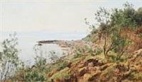coastal scene from moesgaard beach by janus andreas barthotin la cour
