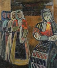 paysannes en costume traditionnel by bencho obreshkov