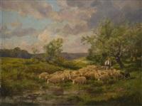 berger et ses moutons à la mare by clement (charles-henri) quinton