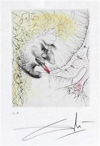 homme baisant la chaussure (schuhküssender mann) (from venus aux fourrures) by salvador dalí