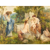bathers at a fountain pool by françois lafon