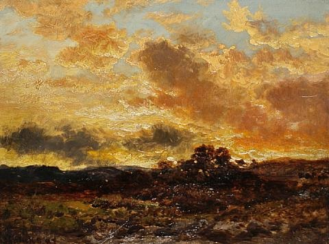 a moor at sunset by george blackie sticks