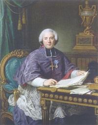 portrait of a man (nicolas chanlatte?), primat de l'ordre de citeaux, supérieur de l'abbaye de pontigny, at a desk by guillaume voiriot