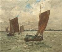 fischerboote vor der küste by andreas dirks