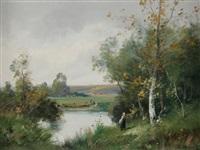 femme près d'une rivière by edma morisot