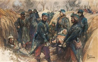 french soldiers rescuing a comrade by dominique charles fouqueray