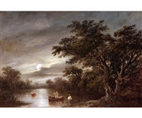 moonlight scene on the river orwell with eel fishermen by robert burrows