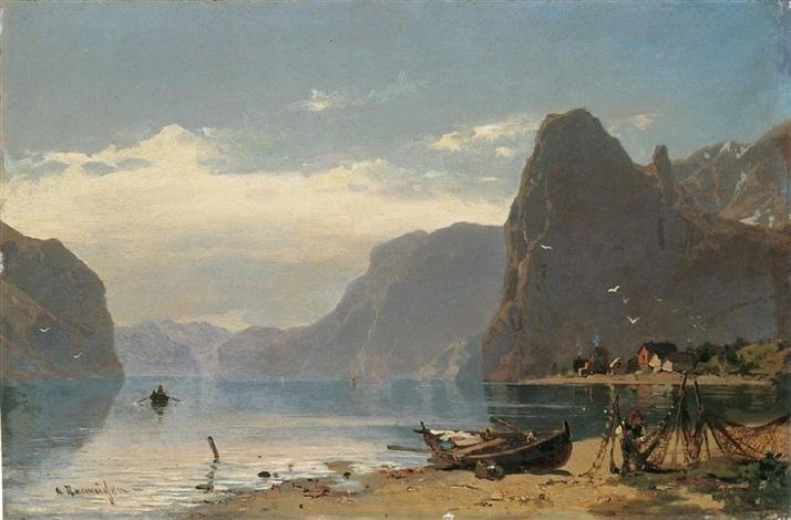 fjordlandschaft mit fischern by georg anton rasmussen