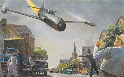fighter plane causes havoc on city street (illus. for saturday evening post) by peter helck
