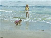two girls on a beach by james le jeune