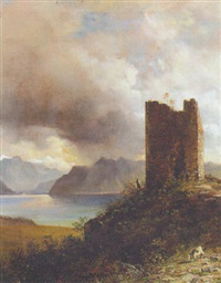 a goatherder by a ruined tower in a mountainous lake landscape by jacob george strutt