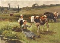 paisaje con vacas y jovenes campesinos by edouard bernard debat-ponsan