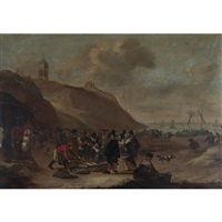 fish market at egmond-aan-zee with moored boats and townsfolk mingling by cornelis beelt