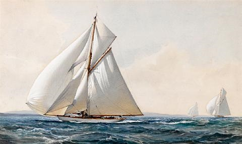 yachts racing on an open sea by montague dawson