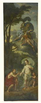 a set of three large mythological wall paintings: the gods and goddesses of mount olympus; the fall of phaeton; the judgement of paris (3 works) by flemish school (18)