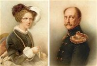 portrait of emperor nicholas i (+ portrait of empress aleksandra fedorovna of russia; pair) by renaud
